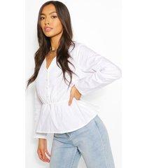 cotton v neck peplum blouse, white