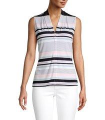 calvin klein women's multicolored striped top - black multi - size m