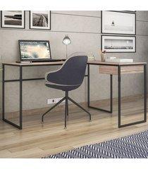 mesa para escritório erica 1 gaveta carvalho/preto - novabras