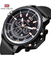 reloj para hombre/correa de piel/ mini focus / 0095g / reloj-negro