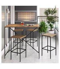 conjunto mesa bancada c/ 4 banquetas steel quadra artesano vermont/preto