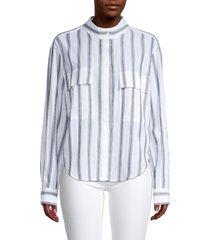 frame women's striped cotton shirt - white - size s
