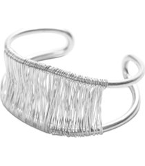lucky brand silver-tone wire-wrapped double-row cuff bracelet