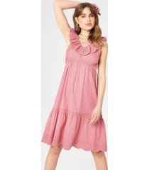 debiflue x na-kd v neck cut out dress - pink