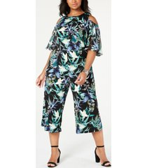 connected plus size printed cold-shoulder jumpsuit