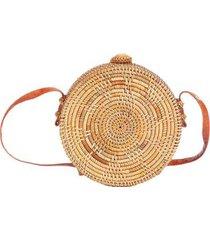 bolsa de palha redonda rattan com desenho estrela com alça de couro feminina