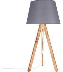 lampa stołowa bambusowa szara