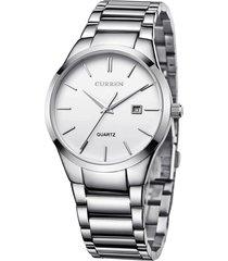 reloj analogo lujo hombre acero curren - color plata blanco