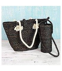 natural fibers tote bag and bottle holder set, 'heat wave' (india)