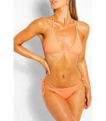 geribbelde driehoekige bikini met strik, oranje