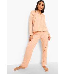 gestreepte satijnen jacquard pyjama, rose gold