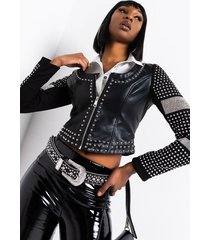 akira so obsessed embellished arm love cut moto jacket