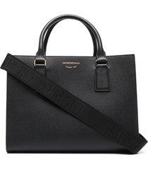 emporio armani logo strap textured tote bag - black