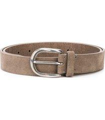 brunello cucinelli textured leather belt - brown