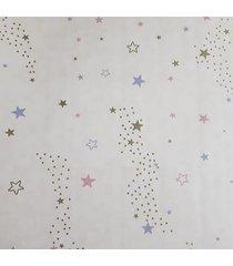 kit 2 rolos de papel de parede fwb fundo bege com estrelas coloridas - bege - dafiti