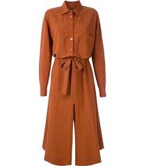 le soleil d'ete audrey tie waist jumpsuit - brown