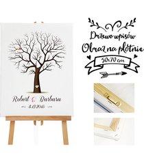 obraz na płotnie drzewo wpisów gości - 50x70 cm