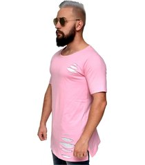camiseta destroyed hardcore line giletada long rosa