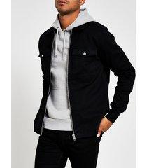 river island mens black zip front regular fit overshirt jacket