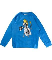 stella mccartney blue scoop neck sweatshirt with zebra print