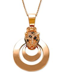 effy signature white diamond (1/3 ct. t.w.), black diamond (1/4 ct. t.w.) and emerald accent panther pendant necklace in 14k rose gold