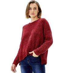 sweater chenille mujer burdeo corona