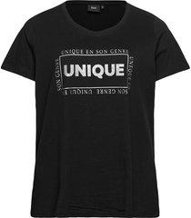t-shirt print plus cotton round neck t-shirts & tops short-sleeved svart zizzi