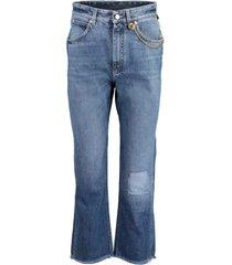 chain detail cropped denim trouser