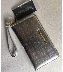 steve madden metallic silver logo gold zip around organizer wallet wristlet new
