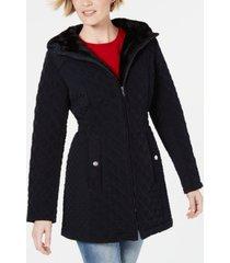 laundry by shelli segal faux-fur-trim hooded jacket
