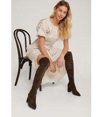 na-kd shoes overknee-stövlar i mockaimitation - brown
