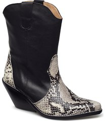 livia x snake grey shoes boots ankle boots ankle boot - heel svart henry kole