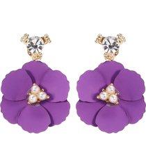 orecchini a lobo viola rosa orecchino a fiore in acciaio inossidabile orecchino giacche regalo per le donne
