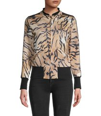 tiger-print full-zip bomber jacket