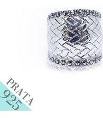 anel prata 925 estilo trancado marcassita kumbayá joias