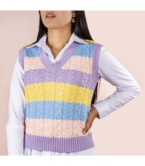 chaleco tejido color lila cosmos 100199