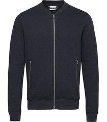 elm quilted cardigan - ocs/vegan gebreide trui cardigan blauw knowledge cotton apparel