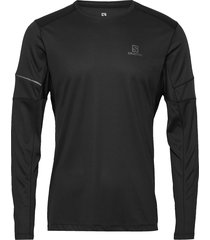 agile ls tee m t-shirts long-sleeved svart salomon