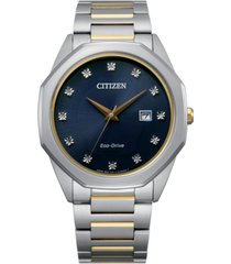 citizen eco-drive men's corso diamond-accent two-tone stainless steel bracelet watch 41mm
