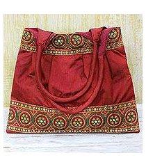 embroidered shoulder bag, 'crimson glamour' (india)