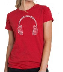 women's premium word art t-shirt - language headphones