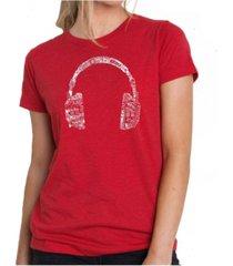 women's premium word art t-shirt - language headphones