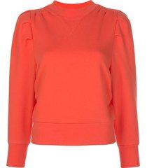 frame structured crew neck sweatshirt - orange