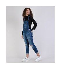 macacão jeans feminino relaxed destroyed azul escuro