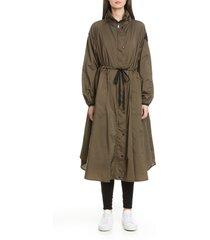 women's moncler lin tie waist water resistant nylon raincoat, size 3 - green