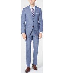 perry ellis men's slim-fit medium blue mini-houndstooth dobby suit