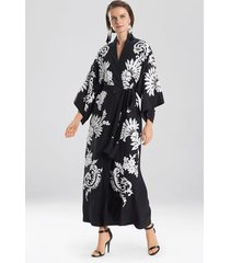 couture mantilla scroll embroidery sleep/lounge/bath wrap/robe, women's, black, 100% silk, size m, josie natori