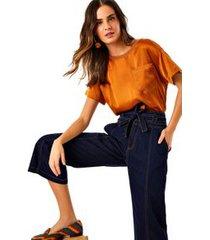 calca pantacourt amarracao jeans