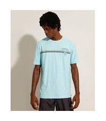 """camiseta de algodão california"""" com listras manga curta gola careca azul claro"""""""