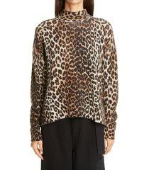 women's ganni leopard print merino wool blend sweater, size xx-small/x-small - brown